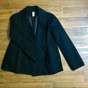 Vintage Aqua 100% Cotton Peplum Coat Round Collar